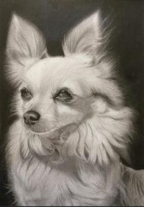 Painting of white dog