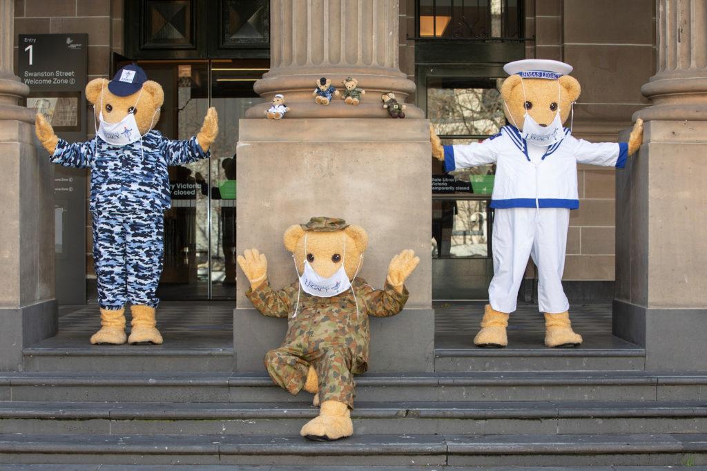 Three Legacy Bears standing outside a building in Hobart Tasmania
