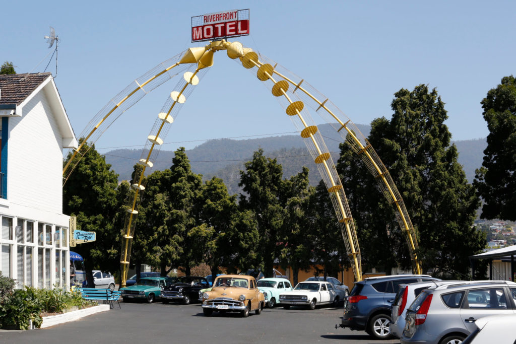 Present day photograph of the Glenorchy Arch at the Riverfront Hotel in Hobart Tasmania