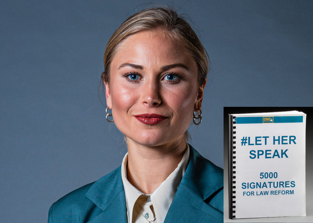 Grace Tame Australian of the Year and her Let Her Speak book of 5000 signatures